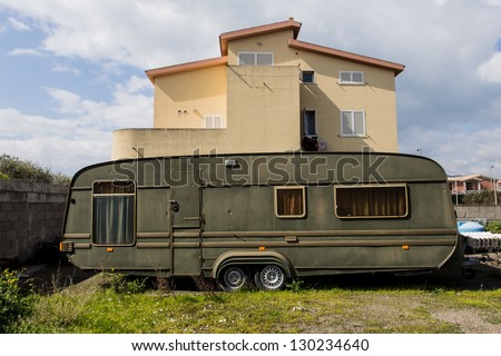 old camper van - stock photo