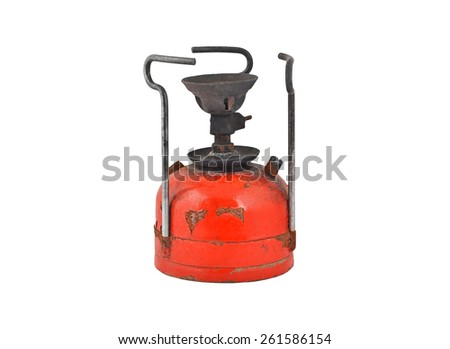 Old camping stove (primus), isolated on white background - stock photo