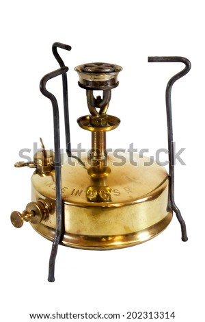 Old camping stove (USSR), isolated on white background - stock photo