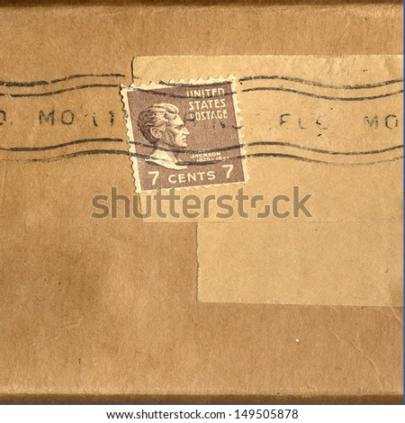Old Canceled Seven Cent Stamp - stock photo