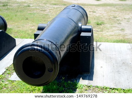 old cannon at Castillo de San Marcos fort - stock photo