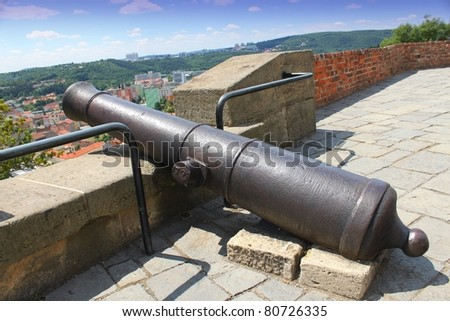 Old cannon fortress above the city of Brno in Czech Republic, castle Spilberk