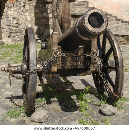 old cannon on a gun carriage