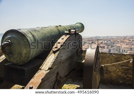 Old cannon overlooking the city of Lisbon, Portugal, Europe
