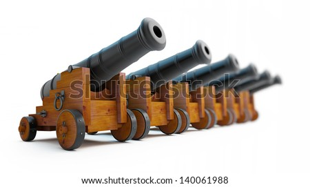 Old cannons row on a white background - stock photo