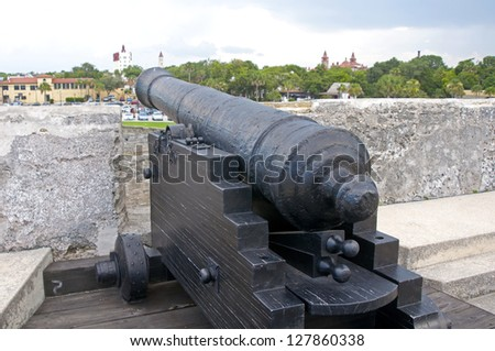 Old canon aiming at the sea, on an overcast day. Old Castillo de San Marcos, St. Augustine, Florida - stock photo