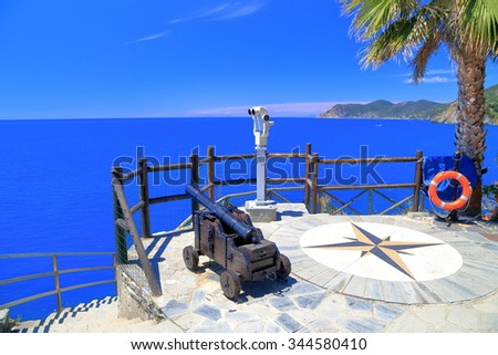 Old canon aiming to the sea from above, Manarola, Cinque Terre, Italy - stock photo