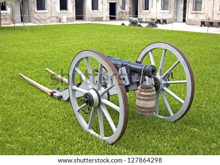 Old canon on wheels in exhibition inside the fort. Castillo de San Marcos, St. Augustine, Florida. 16th century - stock photo