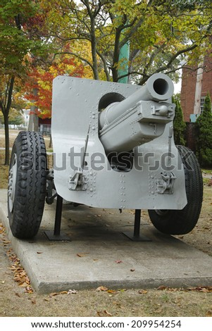 Old canon. This is M1918 155mm Howitzer was used in both WWI and WWII - stock photo