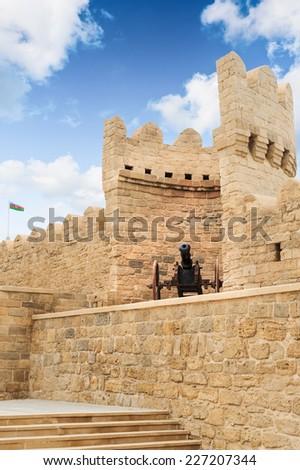 Old canon Turkish top in city wall Icheri Sheher (Old Town) of Baku Azerbaijan - stock photo