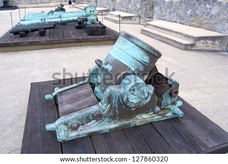 Old canons in a fort, on an overcast day. Old Castillo de San Marcos, St. Augustine, Florida - stock photo