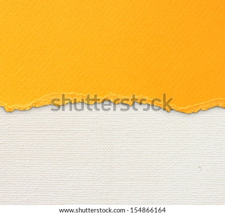 old canvas texture background with delicate stripes pattern and orange vintage torn paper  - stock photo