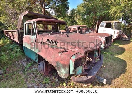old car,Abandoned  pick up truck,PILOK, KANCHANABURI, THAILAND - stock photo