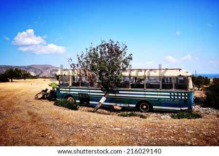 old car, bus, metal - stock photo