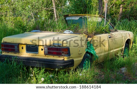 Old car for exterior decoration in garden