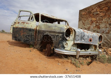 old car in Australian outback - stock photo
