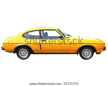 Old car isolated over a white background - stock photo