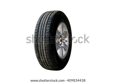 Old car tires isolated on white background.