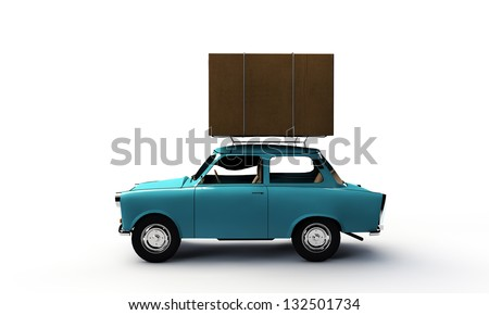 old car with a big cardboard box on top - stock photo