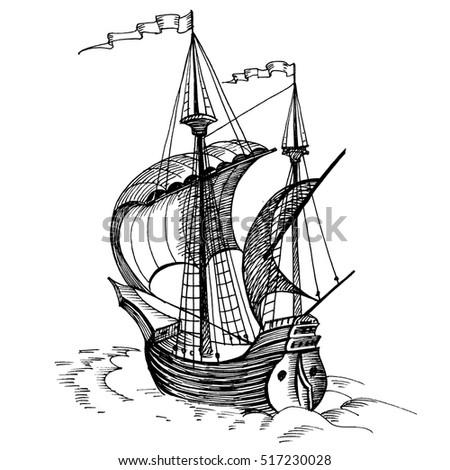 Vintage Sailboat Sketch Shaliapina'...