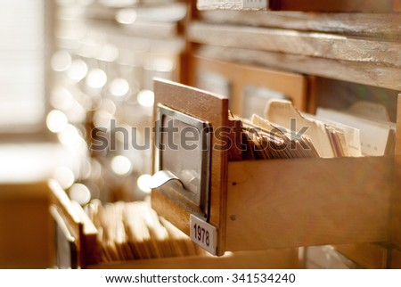 old card index with cards in a library - stock photo