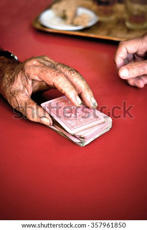Old Card Player - stock photo
