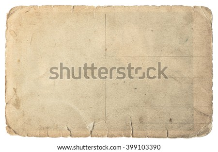 Old cardboard isolated on white background. Vintage paper texture - stock photo