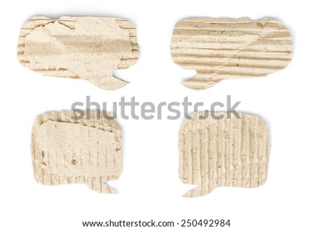 Old cardboard paper speech bubble set isolated on white - stock photo