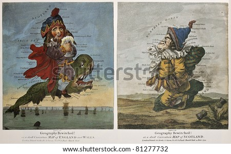Old caricature maps of England-Wales and Scotland. Created by Dighton, published in London by Bowles and Carver, 1794 - stock photo