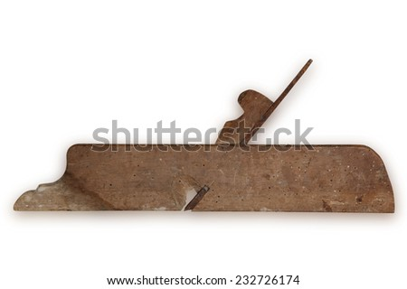 old carpenter tool planer, isolated on white background - stock photo