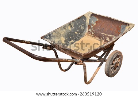 Old carrier wagon on white background - stock photo