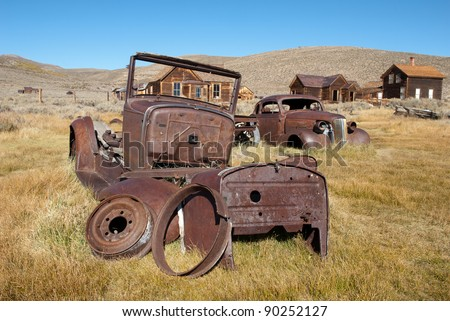 Old Cars at Bodie Historic State Park,  an Old West Ghost Town - stock photo
