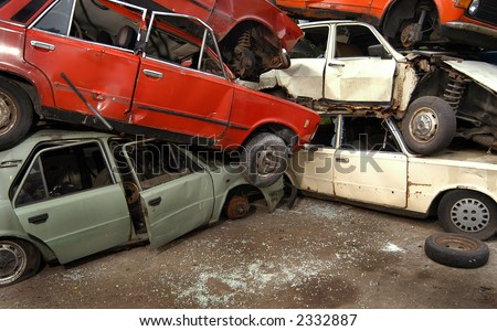 Old cars  for recycling in junkyard