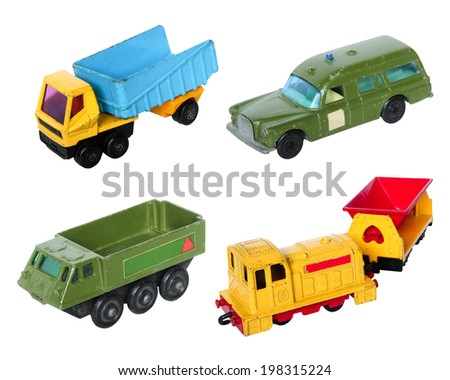 Old cars toy set on white background - stock photo