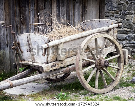 old cart at a farm - stock photo