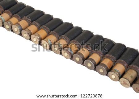 old cartridge belt on white background - stock photo