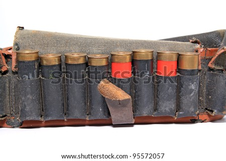 old cartridge belt on white background - stock photo