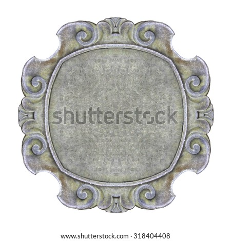Old carved stone frame on white background for easy selection - stock photo