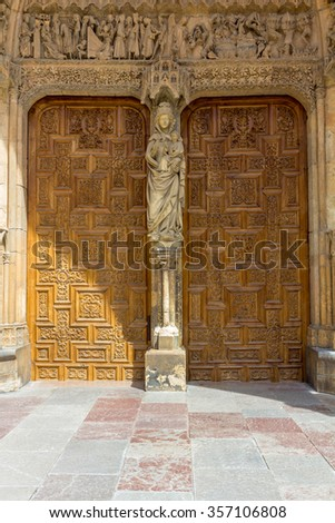 Old carved wooden door of a church