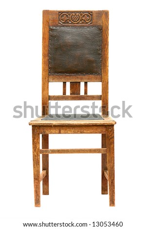 old carving wooden  stool, beginning of 20 century, isolated on white
