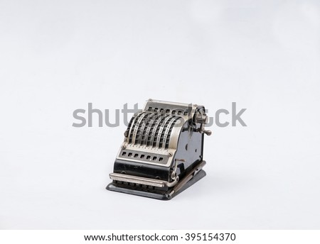 old cash register retro isolated - stock photo