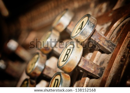 old cash register with letters  A and B on buttons - stock photo