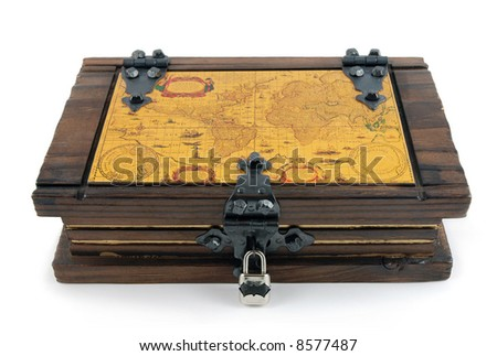 Old Casket witch map - stock photo