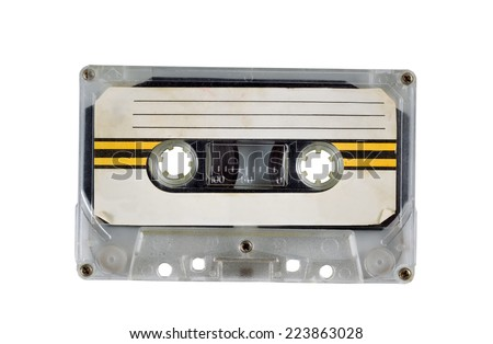 Old Cassette Tape Cartridge on white - stock photo