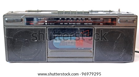 old cassette tape-recorder on white background - stock photo