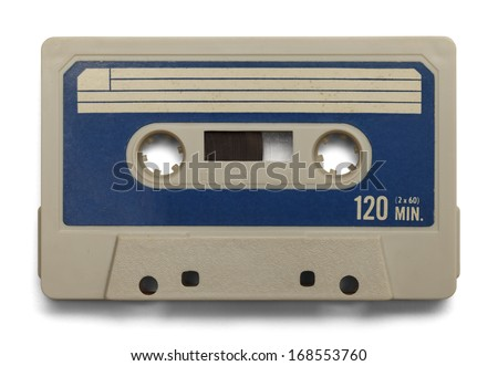 Old Cassette Tape With Copy Space Isolated on White Background. - stock photo