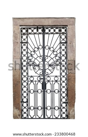 old cast iron castle gate isolated over white background for your design - stock photo
