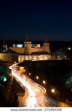 Old castle at Night in Kamenets-Podilskiy
