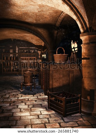Old castle cellar with torches and wine bottles - stock photo