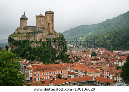 old castle in the center of Foix, France - stock photo